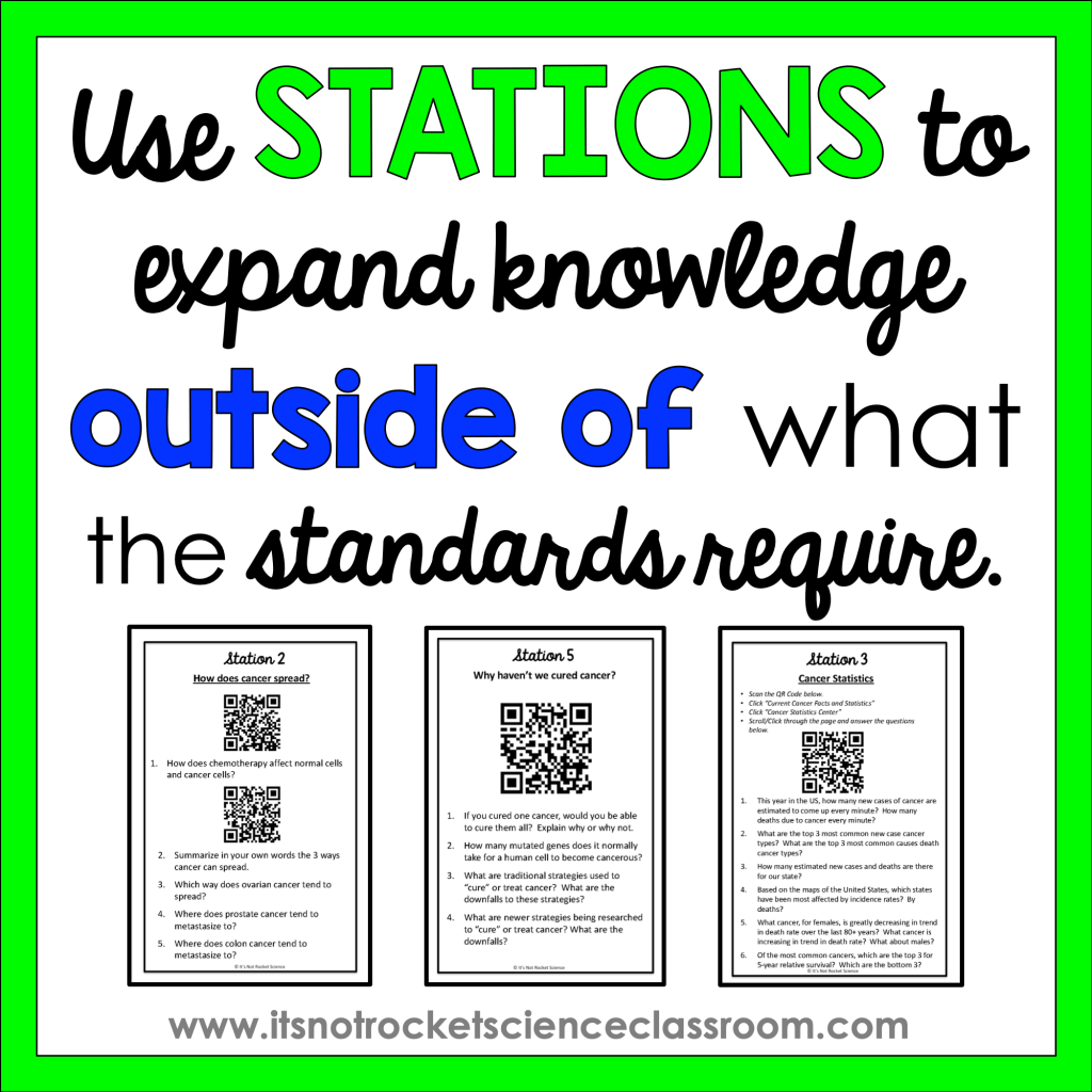 Use stations to expand knowledge outside of what the standards require.